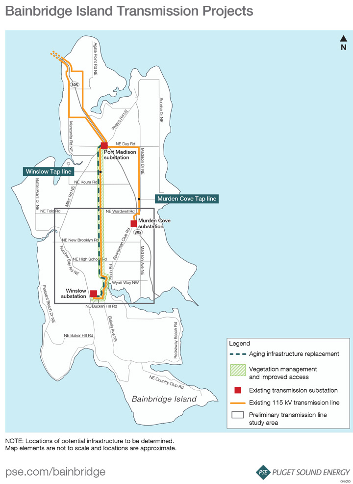 a map that shows the current transmission projects to replace aging infrastructure and outlines the study area to find the