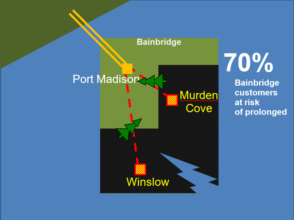 Diagram displays 70 percent of Bainbridge Island losing power if two transmission lines are down