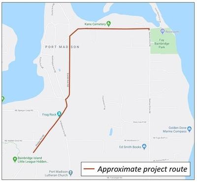 Project area of Lafayette Avenue project on Bainbridge Island