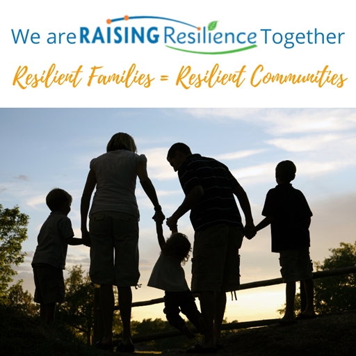A family holding hands with the back to the camera. The text of the image reads: We are raising Resilience Together. Resilient families equals Resilient communities.