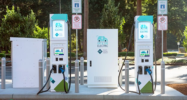 Two public Up & Go electric vehicle charging stations demonstrate a greener way to charge on the go.