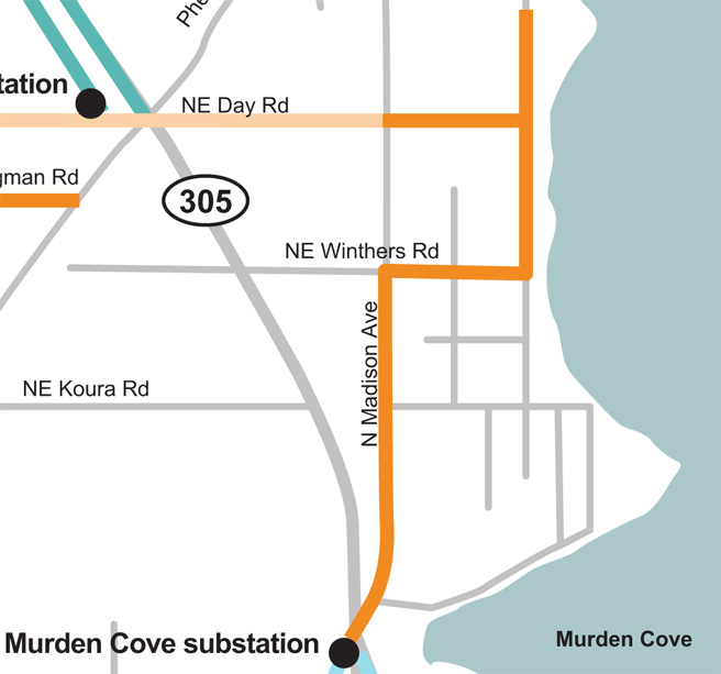 Sunrise Drive NE and N Madison Ave tree wire Map